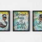 "Mermaid Dictionary Digital Art Prints ~ 8"" x 10"" Mermaid Kisses and Starfish Wishes - Audrey style"