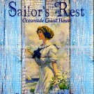 """Sailor's Rest Watercolor and Weathered Wood 11"""" x 14"""" digital print & four 3.5"""" x 5"""" Postcards"""