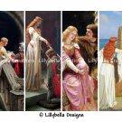 "Edmund Blair Leighton ~ 16 Layered Digital Art Bookmarks ~ 2.5"" x 7"""