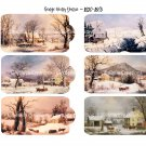 George Henry Durrie - 2.25 x 4 inch Tags - 24 total ~ Vintage Winter Artist Currier & Ives style
