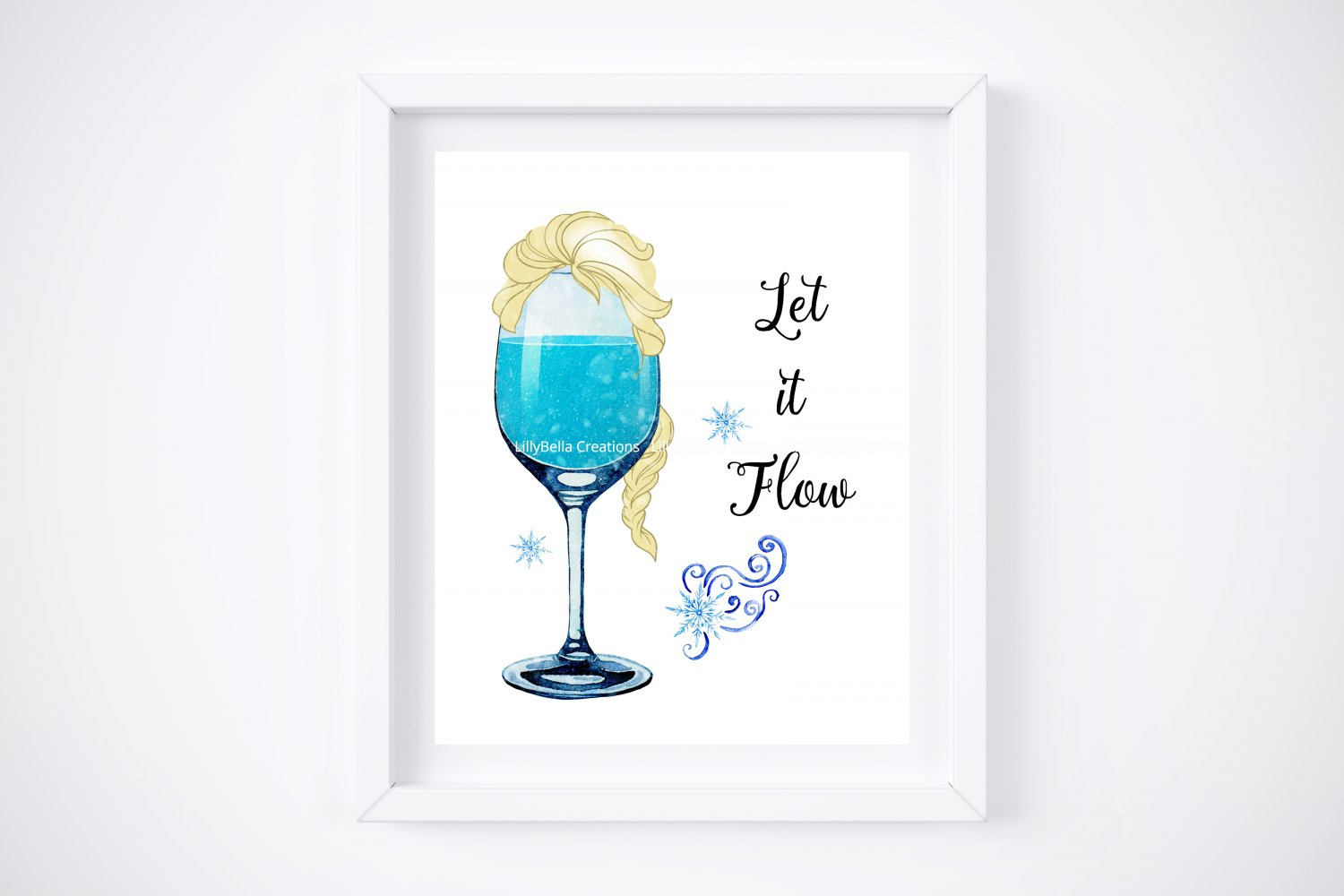 """Drunk Elsa ~ Frozen Watercolor Wine with Quote 8"""" x 10"""" + Greeting Card"""