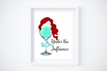 Drunk Ariel ~ The Little Mermaid Watercolor Wine with Quote ...