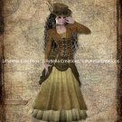 """Steampunk Victorian Lady Digital Art Prints ~ 8"""" x 10"""" - 4 prints - Customize hair and/or skin color"""