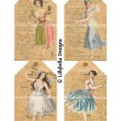 Vintage Style Ballerina Fairy - 3 x 5 inch Tags - 16 total