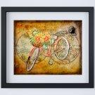 "Bicycle - World Map Digital Mixed Media Art Print ~ 10"" x 8"" ~ Autumn ~ Fall ~ Sunflowers"