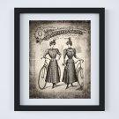 "Bicycle - Retro Vintage Women Ad Ephemera Digital Art Print ~ 11"" x 14"""