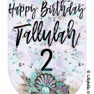 "Mermaid Birthday Banner Digital Art Print ~ 7"" x 10.5"" ~ Personalized ~ Audrey style Mermaid"