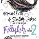 "Mermaid Birthday Invitation Digital Art Print ~ 5"" x 7"" ~ Personalized ~ Audrey style Mermaid"