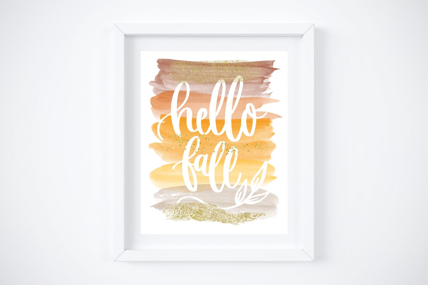 """Hello Fall ~ Seasonal Style Watercolor Brush Art Print with Quote: 8"""" x 10"""""""