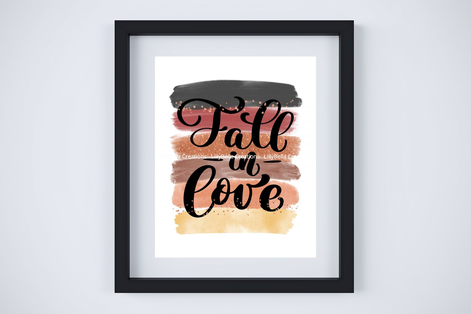 """Fall in Love & Thanksgiving ~ Seasonal Watercolor & Glitter Brush Art Print with Quote: 8"""" x 11"""""""