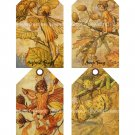 Flower Fairies of the Fall - 3 x 5 inch - 12 tags total + Background ~ Cicely M. Barker