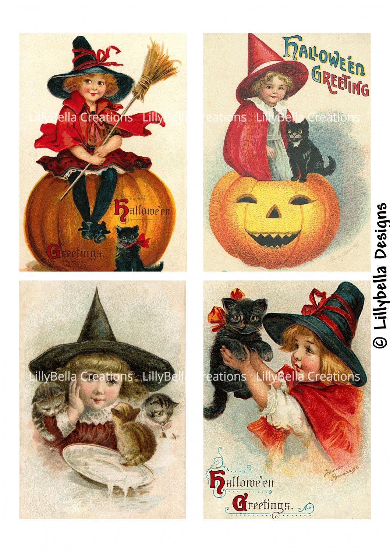 Vintage Halloween 3.5 x 5 inch Color Postcards - Vintage Stamped or Plain - 16 total