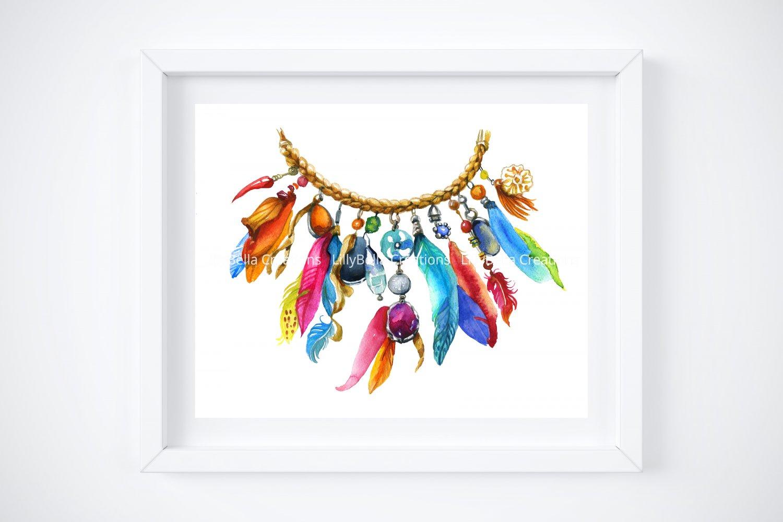 "4 BOHO Watercolor Art Prints: 10"" x 8"" (Colorful Feathers & Word Art)"