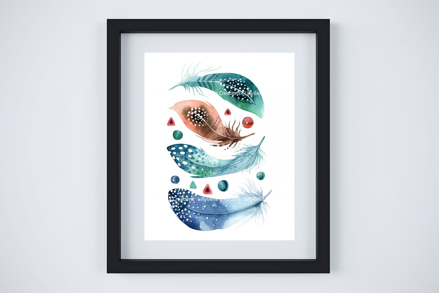 """6 BOHO Watercolor Art Prints: 8"""" x 10"""" (Feathers, Skull & My Tribe is My Vibe (Word Art)"""