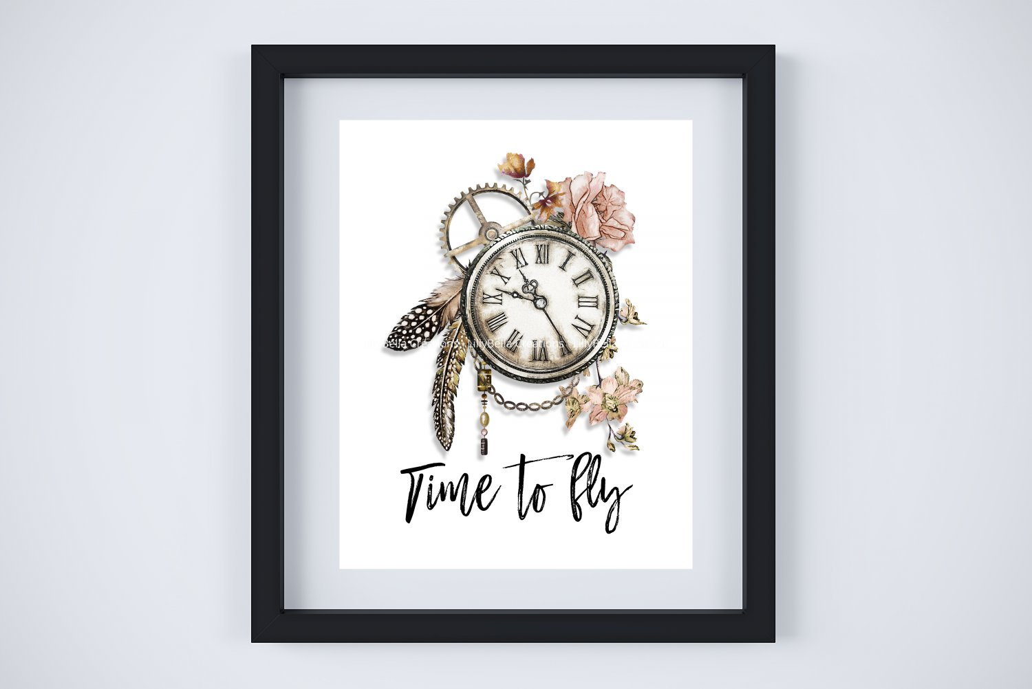 """Time to Fly - BoHo Gypsy Hippie Watercolor 11"""" x 14"""" & four 3"""" x 5"""" Tags"""
