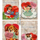 """Watercolor Valentine Library Cards - 3.5 x 5"""" ~ 12 Mixed Media ~ Retro, Vintage cards Pack 3"""