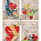 """Watercolor Valentine Library Cards - 3.5 x 5"""" ~ 12 Mixed Media ~ Retro, Vintage cards Pack 2"""