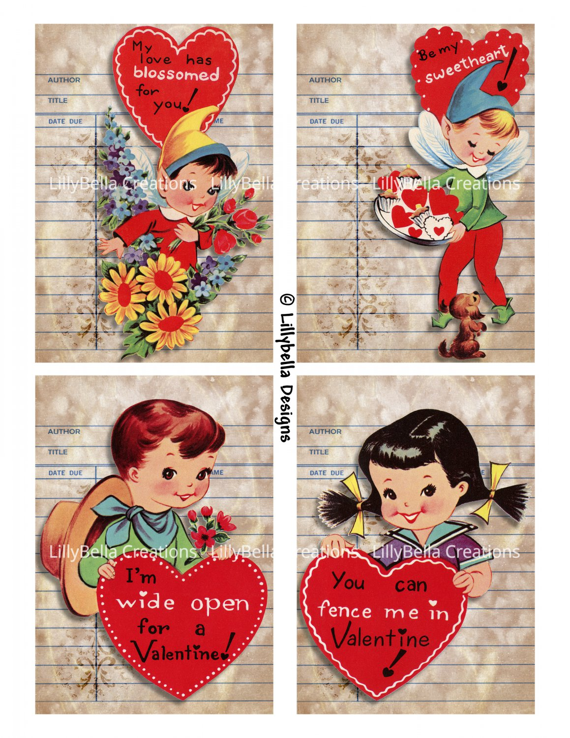 """Watercolor Valentine Library Cards - 3.5 x 5"""" ~ 12 Mixed Media ~ Retro, Vintage cards Pack 1"""