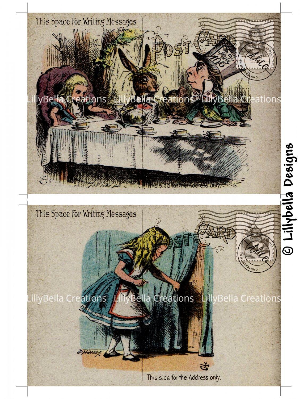 Alice in Wonderland - 5 x 7 inch Color Postcards - Vintage Style - 2 total