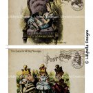Alice Through the Looking Glass - 5 x 7 inch Color Postcards - Vintage Style - 2 total