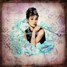 "Audrey Hepburn Art Print 12"" x 12"" - Breakfast at Tiffany's - Bubbles"