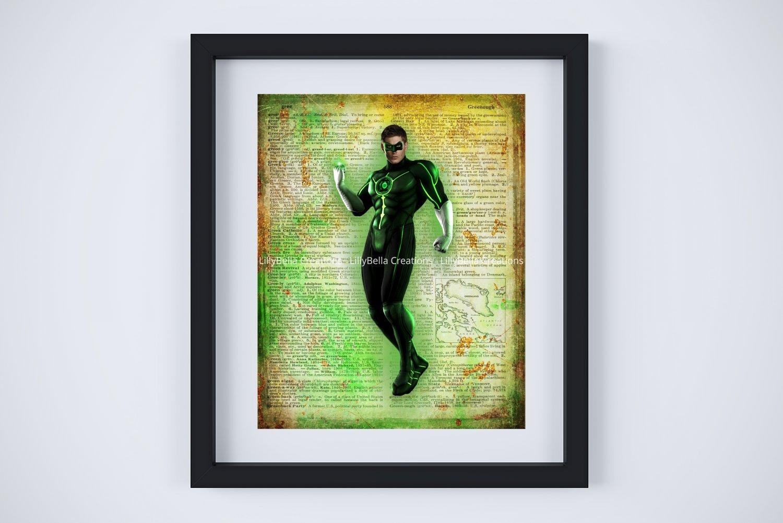 "Green Lantern ~ DC Comics Dictionary Digital Art Print ~ 8"" x 10"" - Hal Jordan - Ryan Reynolds"