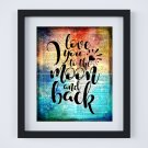 """Love You to the Moon and Back ~ Dictionary Digital Art Print: 8"""" x 10"""" ~ Watercolor"""