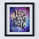 """Love You to the Moon and Back ~ Dictionary Digital Art Print: 8"""" x 10"""" ~ Purple Watercolor"""