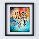 """It's Time for a New Adventure ~ Dictionary Digital Art Print: 8"""" x 10"""" ~ Rainbow Watercolor"""