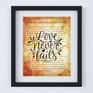 "Love Never Fails ~ Bible 1 Corinthians 13 - 8 Digital Art Print: 8"" x 10"" ~ God, Bible, Devotional"