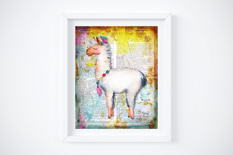 """Llama ~ Dictionary Digital Art Print: 8"""" x 10"""" ~ Pastel & Glitter Watercolor ~ Alpaca"""