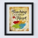"Teaching is a Work of Heart ~ Dictionary Digital Art Print ~ 8"" x 10"""
