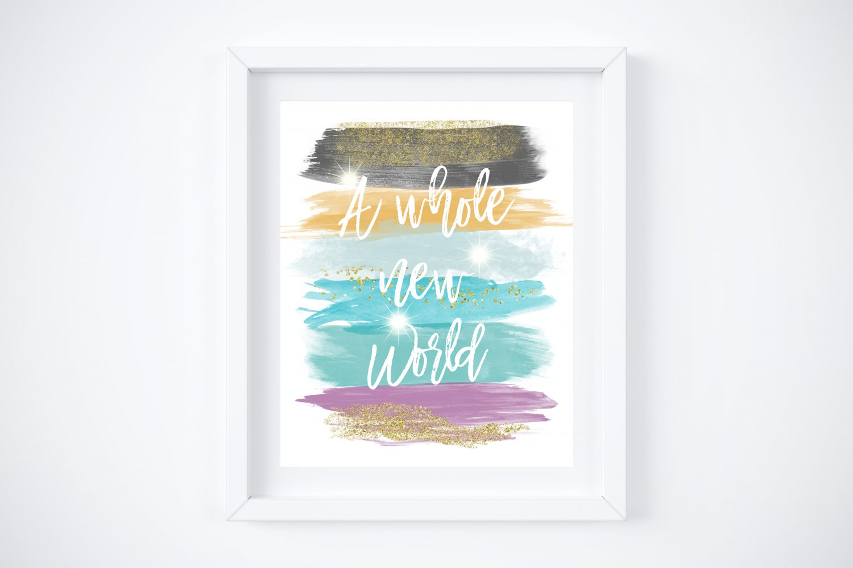 "Jasmine - Aladdin Watercolor Brush Art Print with Quote: 8"" x 10"""