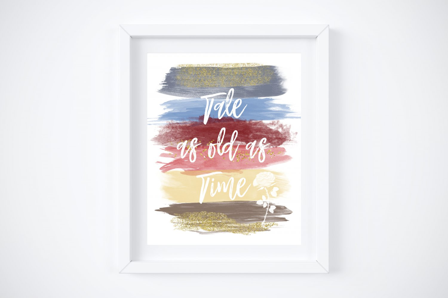 """Belle - Beauty and the Beast Watercolor Brush Art Print with Quote: 8"""" x 10"""""""