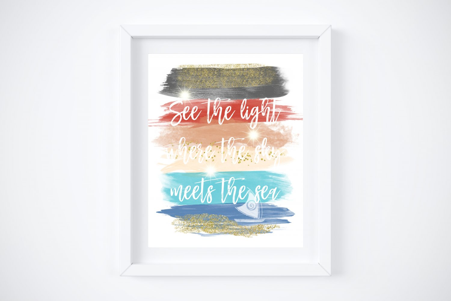 """Moana Watercolor Brush Art Print with Quote: 8"""" x 10"""""""