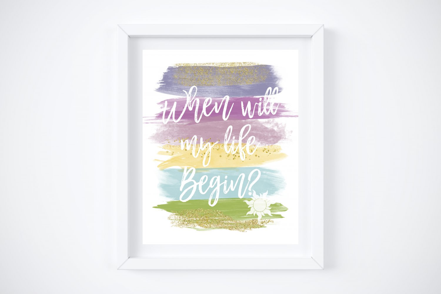 """Rapunzel - Tangled Watercolor Brush Art Print with Quote: 8"""" x 10"""""""