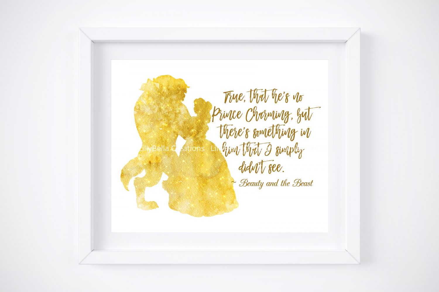 """Beauty and the Beast Watercolor Silhouette with Quote 10"""" x 8"""" + Greeting Card ~ Belle"""