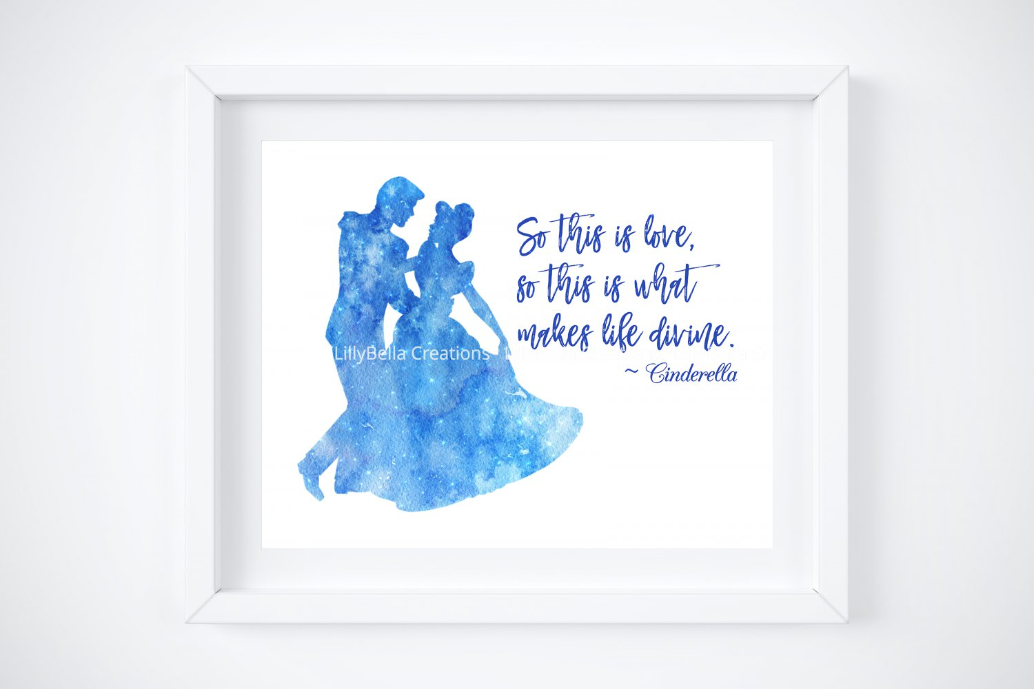 """Cinderella Watercolor Silhouette with Quote 10"""" x 8"""" + Greeting Card ~ Prince Charming"""