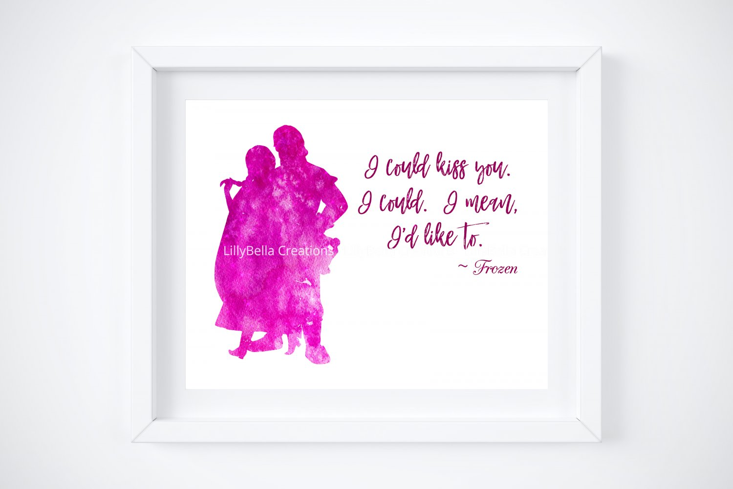 """Frozen Watercolor Silhouette with Quote 10"""" x 8"""" + Greeting Card ~ Anna & Kristoff"""