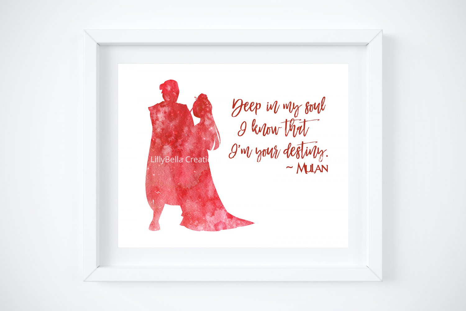 """Mulan Watercolor Silhouette with Quote 10"""" x 8"""" + Greeting Card ~ Li Shang"""