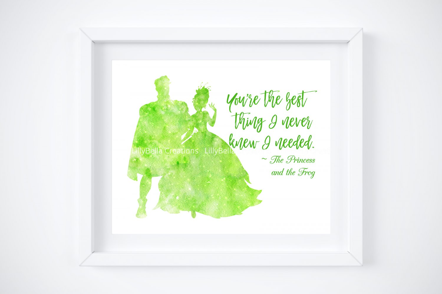 """Princess and the Frog Watercolor Silhouette with Quote 10"""" x 8"""" + Greeting Card ~ Tiana & Naveen"""