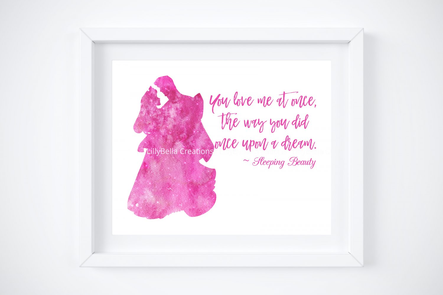 """Sleeping Beauty Watercolor Silhouette with Quote 10"""" x 8"""" + Greeting Card ~ Prince Phillip"""