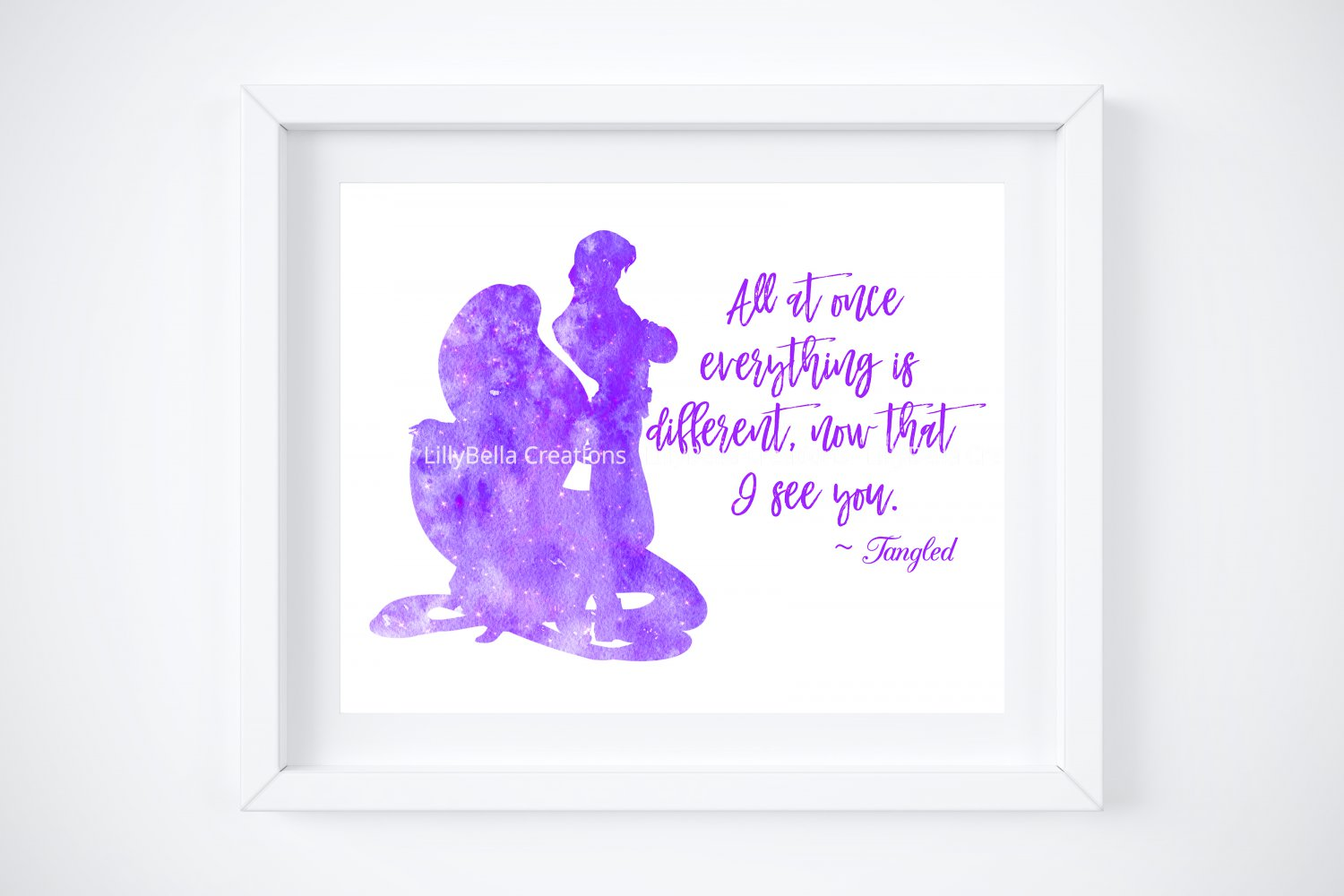 """Tangled - Rapunzel Watercolor Silhouette with Quote 10"""" x 8"""" + Greeting Card ~ Flynn"""