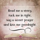 """Read Me A Story Art Print with Quote: 12"""" x 12"""" Pink, Blue, Boy & Girl - Bubbles, Book"""