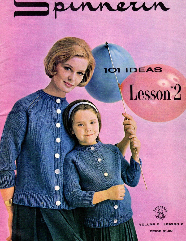 Vintage Spinnerin Knitting Magazine ~ 1963 ~ 101 Ideas ~ Sweaters ~ Digital Magazine