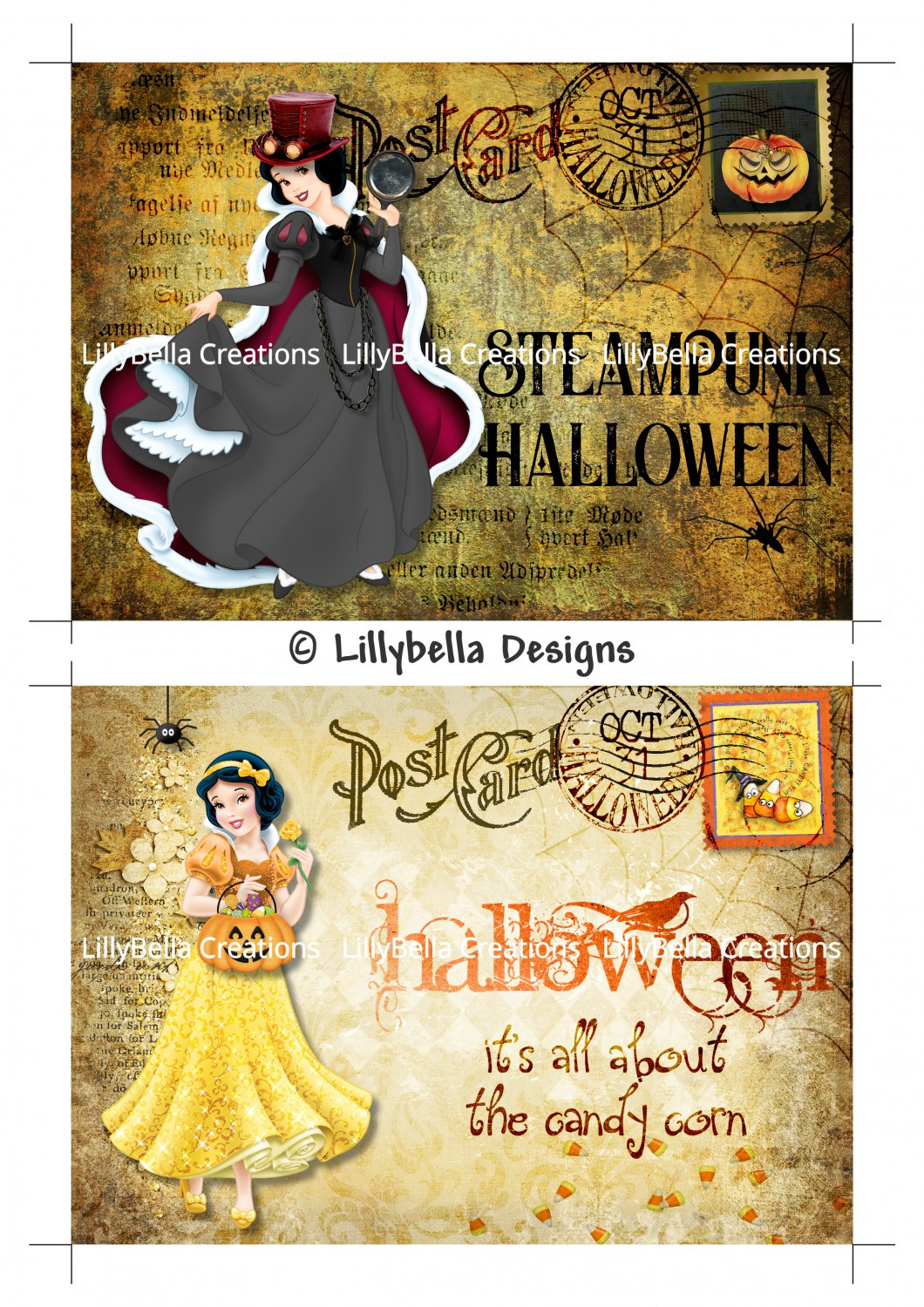 Halloween Snow White - 5 x 7 inch Color Postcards - Vintage Style ~ Steampunk & Candy Corn