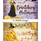 Halloween Rapunzel - 5 x 7 inch Color Postcards - Vintage Style ~ Witch & Candy Corn