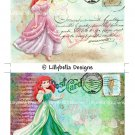Valentines Day Ariel ~ The Little Mermaid - 5 x 7 inch Color Postcards - Vintage Style - 2 total