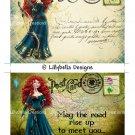 St. Patrick's Day Merida - Brave - 5 x 7 inch Color Postcards - Vintage Style - 2 total