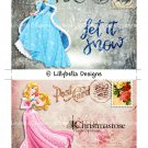 Christmas Aurora ~ Sleeping Beauty - 5 x 7 inch Color Postcards - Vintage Style - 2 total